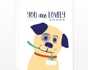 SALE! Cute Valentine's Day Card, Puppy Dog Card - You Are Lovely Greeting Card - Dating Card, Card for Girlfriend, Boyfriend, Friendship