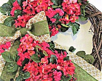 Spring Wreath, Grapevine Wreath, Out Door Wreath, Front Door Weath, Coral Spring Wreath, Hydrangea Wreath, Summer Wreath, Whimsical Wreath