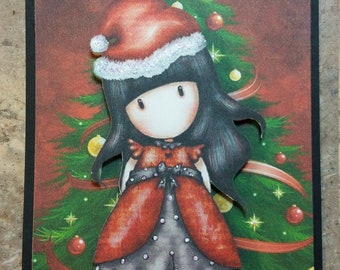 M&M...Gorjuss Girl 3-D Christmas Card paper piecing