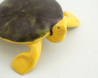 Sea turtle with yellow & green glaze, stoneware, comes with poem