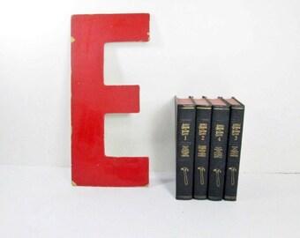 Industrial Letter E, 13 Inch, Vintage Red Sign Letter E