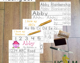 Kids Name Tracing Worksheet Set, Learning to Write, Children's Name Practice Set, Dry Erase Sheets, Teachers Resources, School Activity