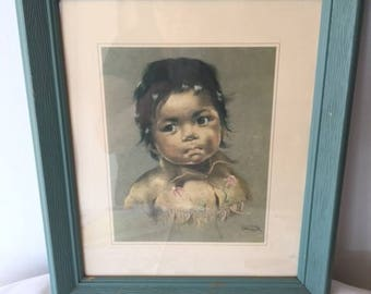 Vintage Native Child Print by Dorothy Oxborough 1960s Native Art Child Art