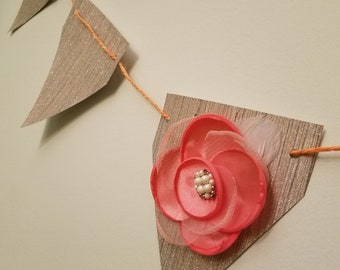 Peach Flower Sparkle Banner