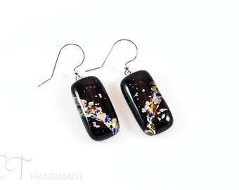 Black Murano glass Earrings - Unique italian jewelry dangle earrings for sensitive ears - Unique gifts for women - vulcan
