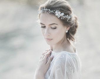 Pearl Wedding Headband , Bridal Headpiece, White Opal Swarovski Crystal Headband, Ivory Freshwater Pearl Wedding Headpiece, Bohemian Bride