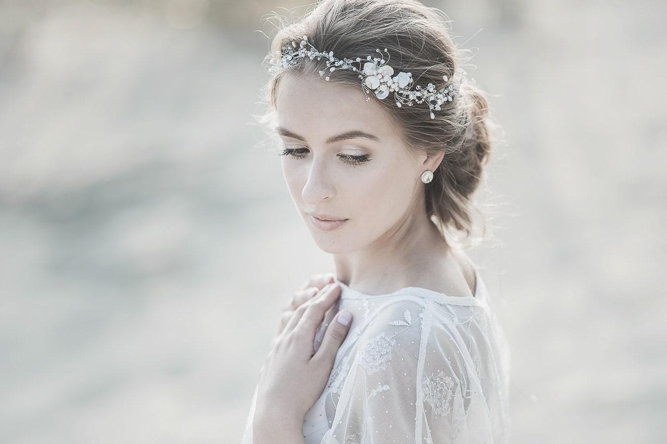 Pearl Wedding Headband Wedding Headpiece White Opal