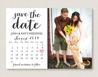 Calendar style save the date. Modern and clean wedding announcement, available as a postcard. Completely customizable and printable. #14