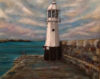 Mevagissey lighthouse canvas print
