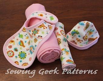 New Baby Gift Set - PDF Sewing Pattern. Receiving Blanket, Bib, Burp Cloth, Hat Gift Set. Baby Sewing Pattern. Easy Pattern. Size Newborn
