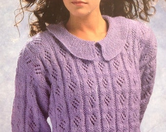 Knitting Pattern Ladies / Woman's / Girls Sweater / Jumper / Pullover with Collar , Lace Work  Size 30-40in 75-100cm