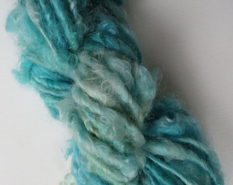 Wensleydale 65gm Hand Spun Art Yarn Caribbean Sea Thick & Thin Hand Dyed