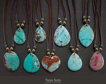 Boho pendant necklace Leather and Turquoise necklace Southwestern jewelry Long Stone necklace Southwest necklace Stone pendant necklace