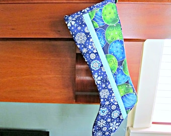 Quilted Christmas Stocking, Patchwork Stocking, Modern Stocking, Snowflake Stocking, Blue Stocking