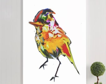 "bird canvas gallery wrap / yellow orange large canvas wall art / animal nature illustration canvas art print / 8x10- 24x36 / ""Yellow Canary"""