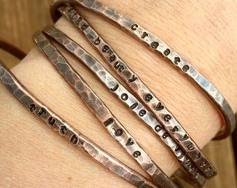 Handstamped Bracelet- Handstamped Bangle, Stamped Bracelet, Stamped Bangle, Copper, Handstamped Jewelry, Stamped Jewelry, Bangle