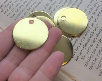10 Brass 1.25 Inch Discs - 18 Gauge