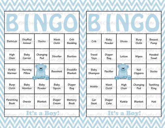 60 Baby Shower Bingo Cards Printable Party Baby Boy