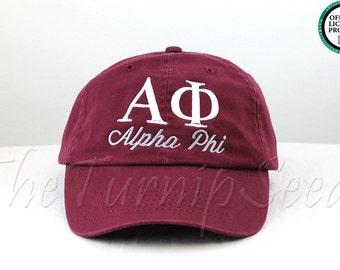 Alpha Phi Sorority Baseball Cap - Custom Color Hat and Embroidery.
