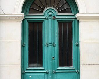 Door 4 - Teal Green Doorway - paris photography - paris decor - paris print - Door in Paris, France - green wall art - paris print
