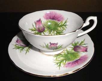 Shelley Thistle Cup & Saucer
