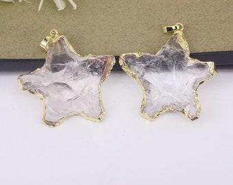 5pcs Natural Clear Quartz Gemstone Star pendant,Quartz starfish pendant For Jewelry Making