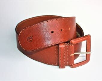 Vintage TIMBERLAND Womens Cow Leather Belt Brown - Real Leather  - ... a Fashionista Statement Piece can fit for Size M and L
