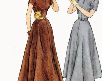 Vintage 1940s Dress Day Evening Fit & Flare Ballet Length Bateau Neck Simplicity Designer 8186 40s Swing Era Sewing Patterns Size 12 B30
