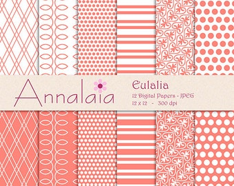 Coral Digital Paper Pack Coral Pink and White Polka Dots Stripes Eulalia Paper for Scrapbooking Instant Download Commercial Use 064