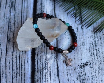 Handcrafted jewelry, Stretch layering bracelets, hematite bracelet, turtle bracelet