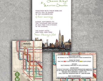 New York Empire State Subway Wedding Invitation or Save the Date