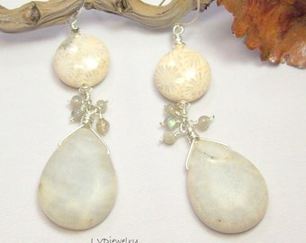 Fossil Coral & Picasso Jasper Earrings