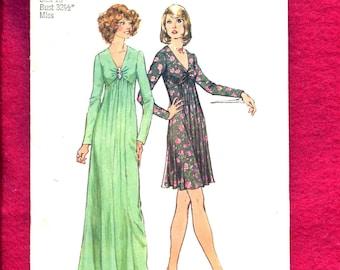 1970's Simplicity 6024 Evening Dress with V Neckline & Chevron Empire Waist Size 10 UNCUT