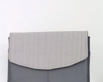ipad Cover, Kindal Cover, Tablet Cover, Gray Stripe and Gray Faux Leather