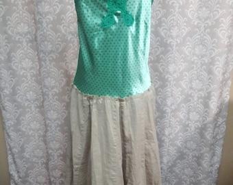 SUMMER SALE Green Hippie Dress, Festival Dress, Upcycled boho festival dress