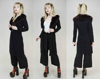 90s Goth Brown Faux Fur Collar Black Slinky Duster Cardigan S