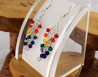 Rainbow seven colors Swarovski crystal cascade earrings with surgical steel french hooks