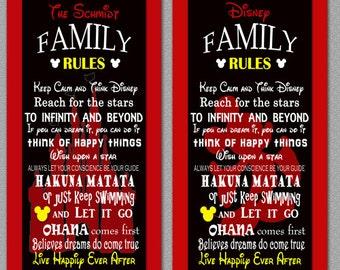 Black Disney Family Rules print 10x20