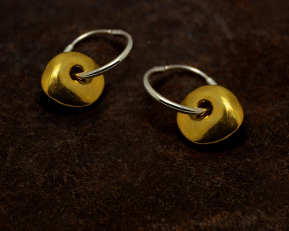 Mixed Metals Hoop and Disc Earrings. Double Circle Earrings. Gold filled and, or Sterling Silver. E-2030