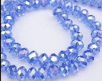 Blue Rondelle Beads, 4x6 Blue Rondelle Beads, Glass 4mm Beads, Glass 6mm Beads, 6mm Blue Beads, 4mm Blue Beads, Rondelle Beads