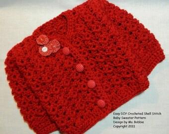Baby Sweater Easy Crochet Tutorial Pattern - PDF 224 - Best Seller