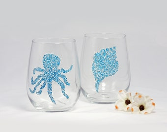 Octopus and conch shell wine glasses - Set of 2 hand painted glasses - Sea Glass Collection