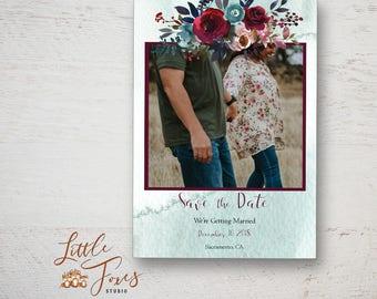 Boho Photo Card Template, Save the Date, Printable, Photoshop Template