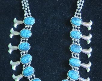 Goldette Squash Blossom Necklace Faux Turquoise Silver Tone Southwestern