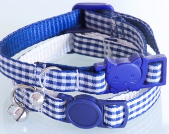GINGHAM NAVY - Small Blue and White Cat or Dog Collar