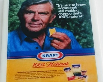 Andy Griffith coaster Kraft cheese retro ad Andy Taylor iconic role Matlock attorney Pray for the Wildcats tv movies The Demon Murder Case
