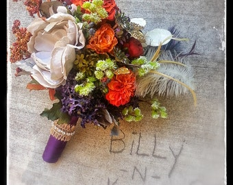 Custom Order Fall Orange Eggplant Jewels Bridesmaid Bouquet