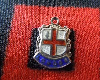 Enamel Silver London Charm Vintage Enamel London England Travel Shield Silver Charm for Bracelet from Charmhuntress 04506