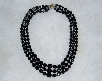 Vintage Faceted Black Glass 3-Strand Necklace and Ring Set