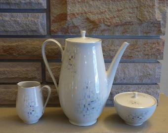 Mid century modern  schumann off white with retro pattern Coffee pot creamer sugar set